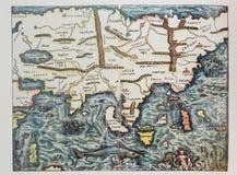 Antykwarska Niemiecka mapa Azja Obraz Royalty Free