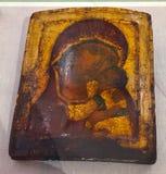 Antykwarska ortodoksyjna farba dzwonił ikonę, Rhodes, Grecja zdjęcie stock
