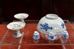 Antykwarska porcelana, Porcelanowa ceramiczna, chińska sztuka, orientalna kultura Obraz Stock