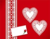 antykwarska prezentów serc koronki etykiety Fotografia Stock