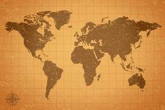 Antykwarska rocznik Światowej mapy ilustracja ilustracja wektor