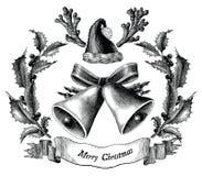 Antykwarska rytownictwo ilustracja Bożenarodzeniowa czarny i biały klamerka zdjęcie royalty free