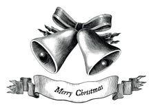 Antykwarska rytownictwo ilustracja Bożenarodzeniowa czarny i biały klamerka zdjęcie stock