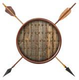 Antykwarska stara drewniana strzała i osłona odizolowywający Zdjęcie Royalty Free
