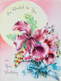 antykwarska urodzinowa karta Fotografia Royalty Free