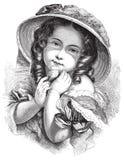 Antykwarska Wiktoriańska wektorowa ilustracja gypsy dziewczyna z kapeluszem ilustracja wektor