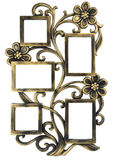 Antykwarska złota fotografii rama z elementami kwiecisty forged ornament Set 5 pięć ram pojedynczy białe tło Obraz Royalty Free