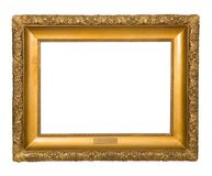 Antykwarska złota rama odizolowywająca na białym tle Obraz Royalty Free