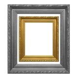 Antykwarska złoto rama i szarości rama na białym tle Zdjęcie Royalty Free