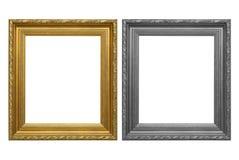 Antykwarska złoto rama i szarości rama na białym tle Zdjęcie Stock