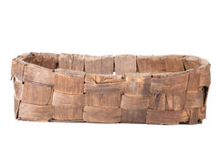 Antykwarski łozinowy kosz odizolowywający na białym tle Obrazy Royalty Free