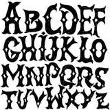 Antykwarski abecadło Goccy listy Rocznik ręka rysująca chrzcielnica Zachodni wektorowy grunge literowanie royalty ilustracja