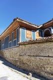 Antykwarski błękitny odrodzenie dom w Koprivshtitza zdjęcie royalty free