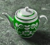 Antykwarski ceramiczny teapot zakończenie z wzorami fotografia stock