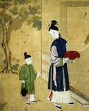 Antykwarski chiński kobiety i dziecka obrazek obraz royalty free