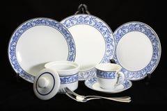 Antykwarski crockery set, set tableware Zdjęcia Royalty Free