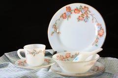 Antykwarski crockery set, set tableware Zdjęcie Stock