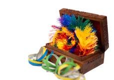Antykwarski Drewniany klatki piersiowej zabawy świętowanie obraz stock