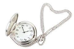 Antykwarski kieszeniowego zegarka i srebra łańcuch. Obraz Stock
