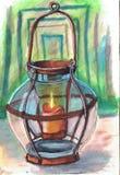 Antykwarski lampion z świeczką Praca robić z markierem ilustracji