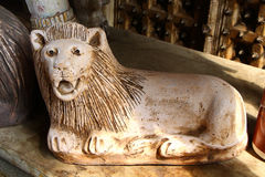 Antykwarski lew Marmurowa statua Południowy India fotografia stock