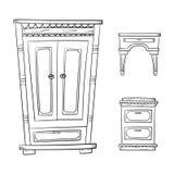Antykwarski meble ustawia - szafę, dresser, nightstand odizolowywający na bielu royalty ilustracja