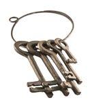 Antykwarski metali kluczy pierścionku odosobniony biel Obrazy Stock