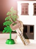 Antykwarski metalu klucz na kolor miniatury drewnianym domu Obraz Stock