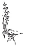 antykwarski narożnikowy rytownictwa kwiatu wektor royalty ilustracja