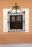 Antykwarski okno z dokonanego żelaza grille Obraz Royalty Free