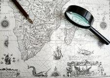 antykwarski rękopiśmiennej mapy pióro Fotografia Royalty Free