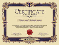 Antykwarski rocznika ornamentu ramy świadectwo rozpoznanie Zdjęcie Royalty Free