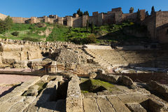 Antykwarski Romański Theatre przy Malaga Zdjęcie Royalty Free