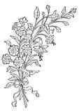antykwarski rytownictwa kwiatów wektor royalty ilustracja