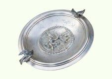 Antykwarski srebny talerz zdjęcie stock