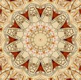Antykwarski stary złoty zegarowy kalejdoskopu wzoru abstrakta tło Abstrakcjonistycznego surrealistycznego zegaru wzoru kalejdosko ilustracja wektor