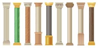 Antykwarskie kolumny i pilars ustawiający, klasyk kamienne kolumny w różnych stylów wektorowych ilustracjach na białym tle ilustracji