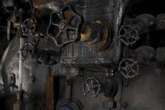 Antykwarskie parowej lokomotywy cocpit gałeczki Zdjęcia Stock