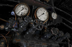 Antykwarskie parowej lokomotywy cocpit gałeczki Obraz Stock