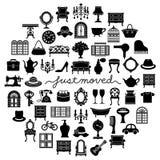 Antykwarskie wewnętrzne ikony w okręgu Domowy poruszający kartka z pozdrowieniami Obrazy Stock