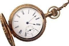 antykwarskiego tła odosobniony kieszeniowego zegarka biel Zdjęcie Stock