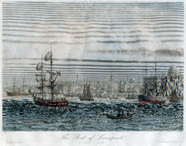 Antykwarskiej ręki Liverpool Barwiony port UK 1840 i statki Obrazy Royalty Free