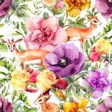 Antylopy zwierzę w kwiatach Moda wielostrzałowy wzór akwarela royalty ilustracja