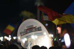 Antyrządowy protest w Bucharest - 12 2018 Sierpień Zdjęcia Stock