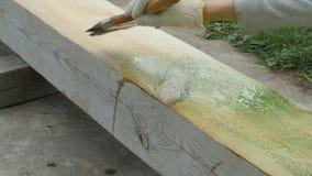 Antyseptyczny narzut drewnianego promienia zakończenie zdjęcie wideo