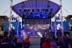 Antytila,在阶段的乌克兰流行音乐摇滚乐队展示在Roshen喷泉开幕式,文尼察,乌克兰, 21 04 2018年,社论 库存图片