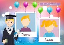 Anuário para a escola com menino graduado e duas fotos ilustração royalty free