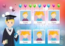 Anuário para a escola com menino graduado e seis fotos ilustração royalty free