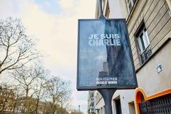 ANUARY 18, 2015 - PARIS: Minnes- baner Royaltyfri Foto