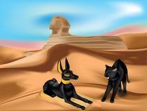 Anubi und Katze lizenzfreie abbildung